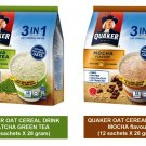 QUAKER OAT CEREAL DRINK 3-IN-1 MATCHA GREEN TEA & MOCHA flavor