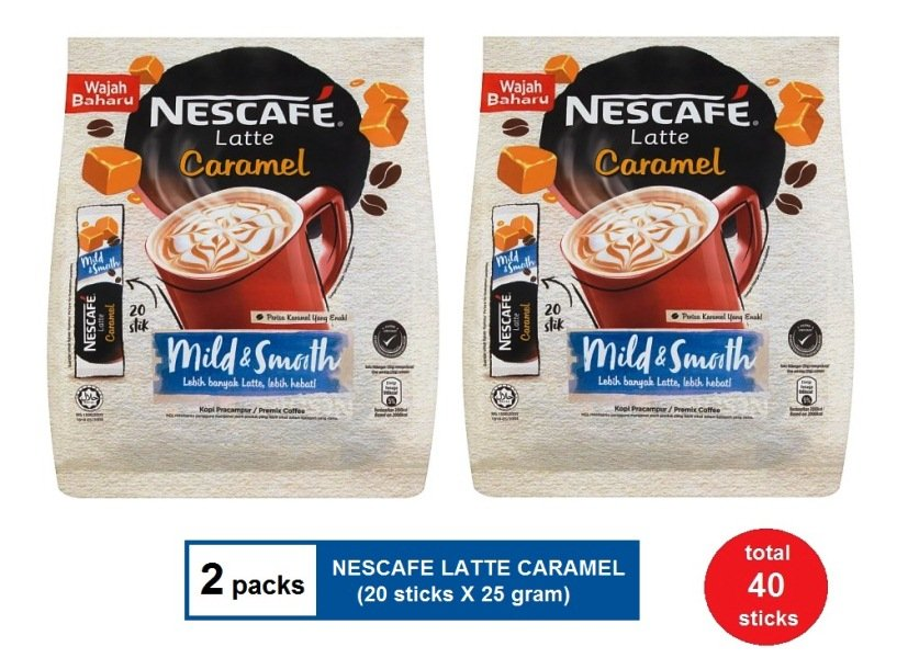 (2 packs) NESCAFE LATTE CARAMEL PREMIX COFFFE (20 sticks X 25 gram)
