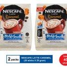 (2 packs) NESCAFE LATTE CARAMEL PREMIX COFFFE (20 sticks X 25 gram)