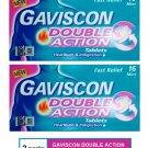 (2 PACKS) GAVISCON DOUBLE ACTION TABLETS 16's MINT - HEARTBURN & INDIGESTION