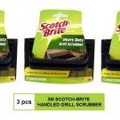 (3 PCS) 3M SCOTCH BRITE HEAVY DUTY HANDLED GRILL SCRUBBER