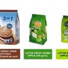 QUAKER OAT CEREAL DRINK 3-IN-1 CHOCOLATE (15 sachets), LOT100 GUMMY SOUR+ APPLE