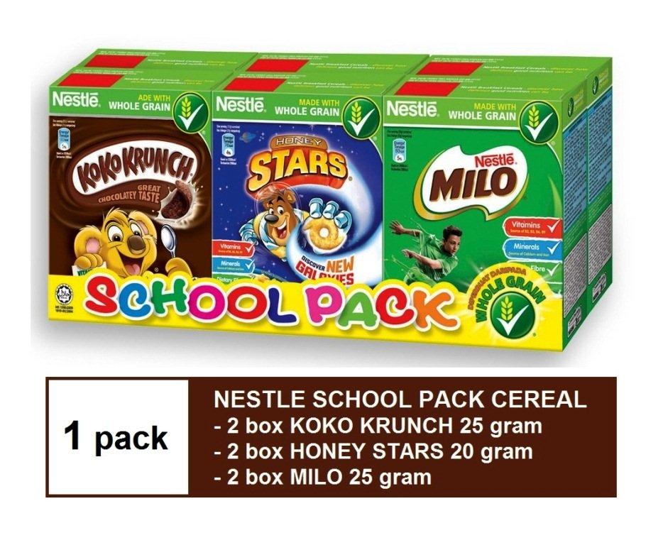 NESTLE SCHOOL PACK CEREAL - 2 KOKO KRUNCH 25g, 2 HONEY STARS 20g & 2 MILO 25g