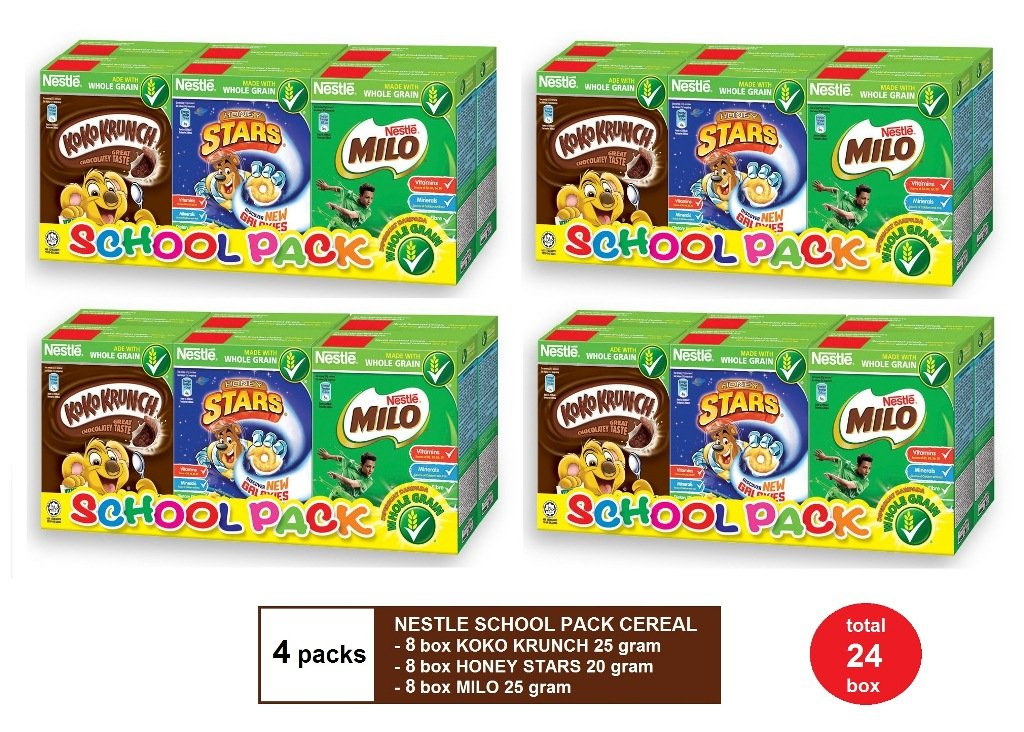 (4 PACKS) NESTLE SCHOOL PACK CEREAL - KOKO KRUNCH 25g, HONEY STARS 20g & MILO 25g