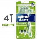 GILLETTE BLUE 3 BLUE3 SENSITIVE SKIN DISPOSABLE RAZORS 4's