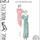 "1930's Dress with detachable cape (B42.5"") [VSV #36002] PDF sewing pattern"