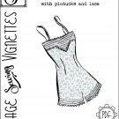 "1940's Cami-knickers with pintucks and lace (B40"") [VSV #43002] PDF sewing pattern"