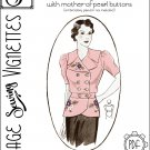 """1930's Blouse with mother-of-pearl buttons (B42.5"""") [VSV #36005] PDF sewing pattern"""
