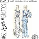 """1930's Nightgown or dress with bedjacket or wrap blouse (B42.5"""") [VSV #39005] PDF sewing pattern"""