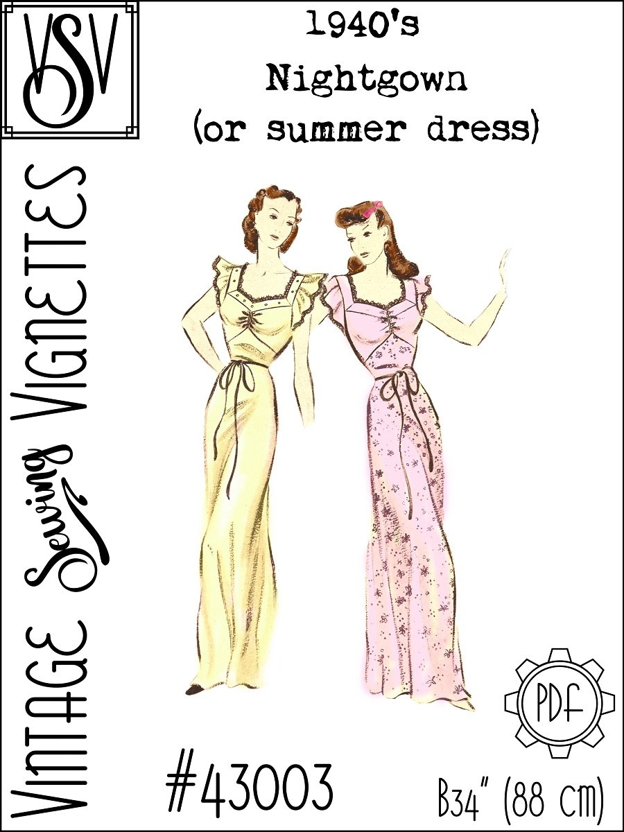 "1940's Nightgown or summer dress (B34"") [VSV #43003] PDF sewing pattern"