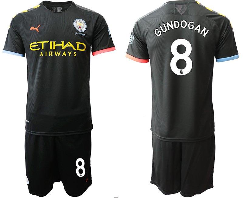 release date 8adbe 827bf 2019 2020 Men's Manchester City Ilkay Gundogan Away Black Jersey Shorts Sets