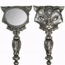 Sacred Cat Ailouros Hand Mirror Antiqued Silver Resin Alchemy Gothic V64