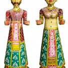 Hand Carved Solid Wooden Painted Rajasthani Dolls Pair