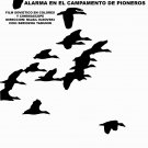Spanish decor movie Poster.PIONEROS Camping.Red Flag art film.Birds and Red flag