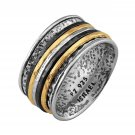 Paz Creations .925 Sterling Silver&Gold Over Silver and Black Rhodium Plated Spinner Ring
