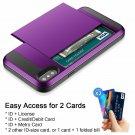 IPhone XS Case Wallet Card Holder Dual Layer Anti-Scratch Hybrid Armor Purple