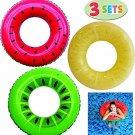 JOYIN Inflatable Swim Tube Raft (3 Pack) with Summer Fruits Painting, Pool Toys