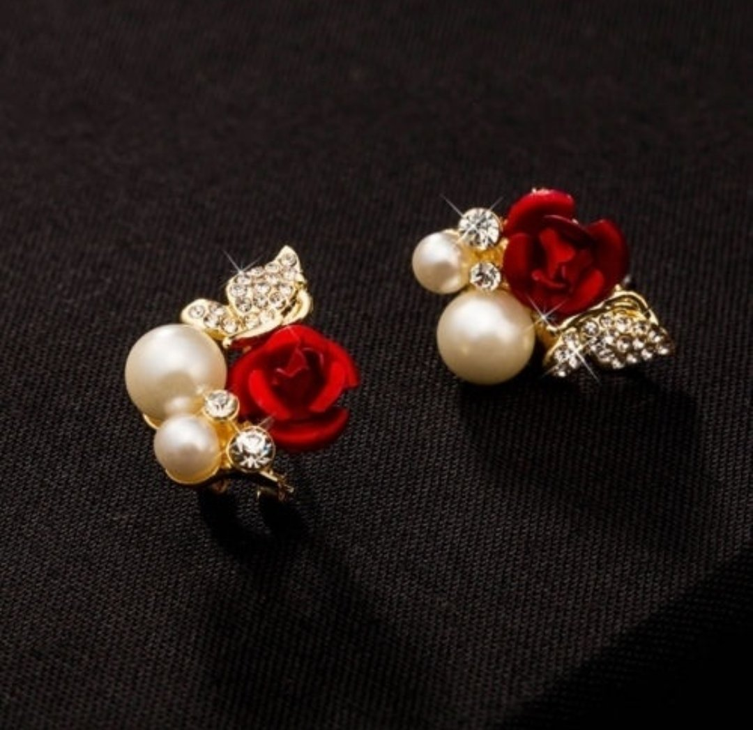 Red Rose Flower Imitation Pearl/ Yellow/Gold Plated Crystal Earrings