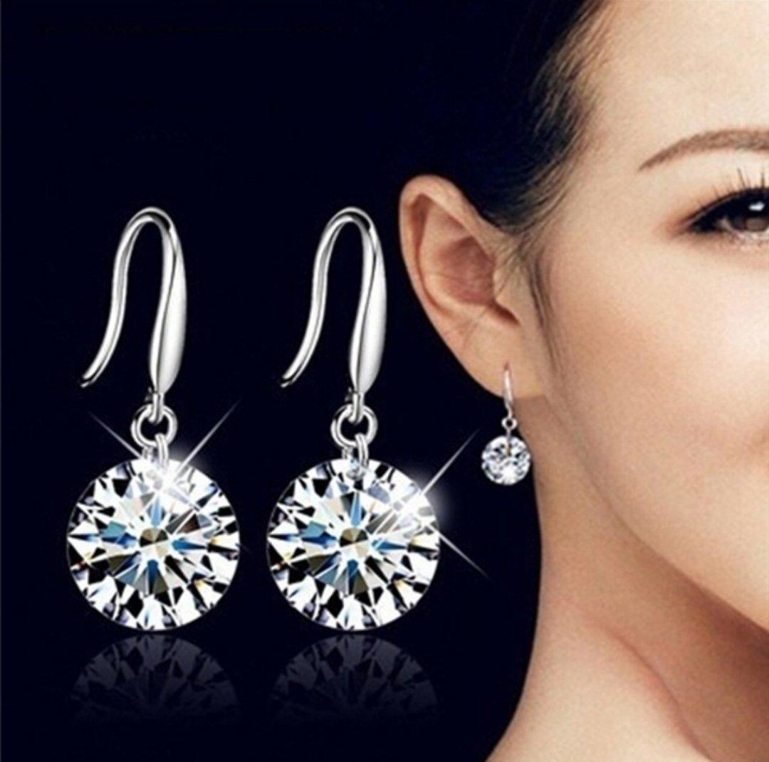 Jewelry Silver Plated Crystal Fashion Hoop With Dangle Diamond Stone Earrings