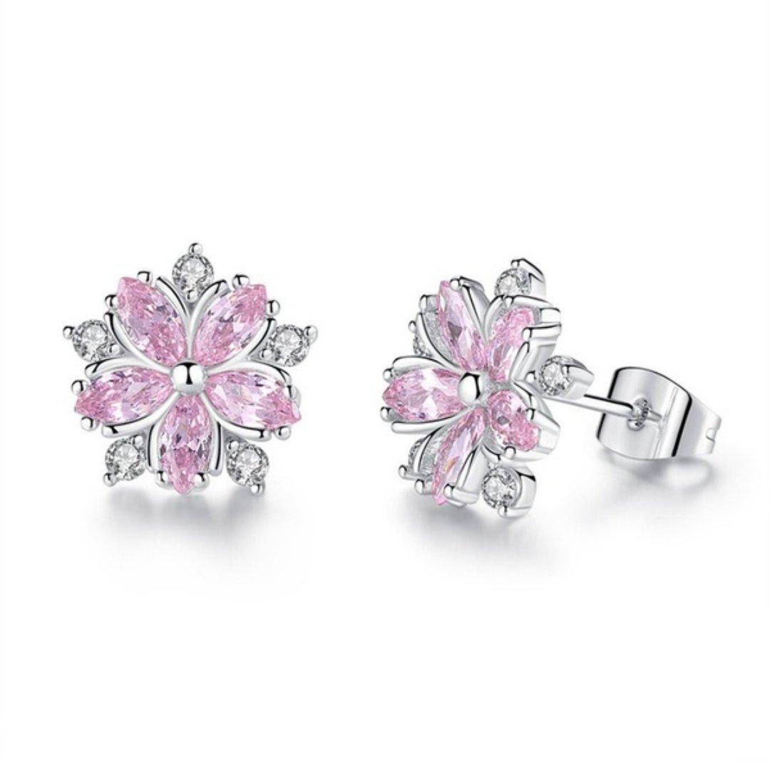 925er Sterling Silver Pink Topaz Cross Diamond Sakura Flower Studs