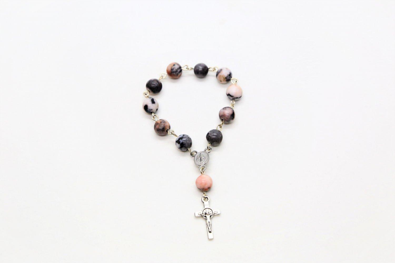 Pink Zebra Jasper Mini Rosary