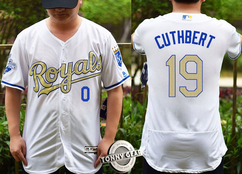 finest selection e7d73 e1111 Men's Kansas City Royals 19 Cheslor Cuthbert White Champions Gold Player  Jersey