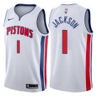 Men's #1 Reggie Jackson Detroit Pistons Swingman Jersey White - Association Edition S-2XL