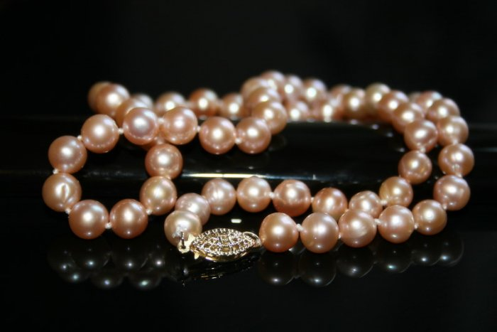 SALE!! - Genuine Fresh Water Pink Pearls Necklace with 14K Gold Clasp