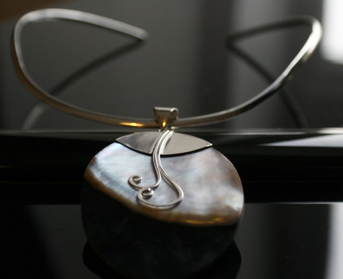 SALE!! - Two Toned Shell in Ornate Silver Bail with 3mm Silver Choker