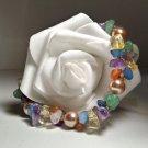 Gemstone Cluster & Pearl Bracelet- Handmade Fashion