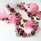 Children's Jewelry pink chunky Necklace handmade - beaded necklace - pink bubble gum necklace