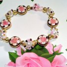 Children's Jewelry Pink Flower Handmade Bracelet - flower jewelry - pearls
