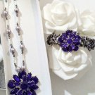 Flower jewelry set - flower necklace - pendant Necklace and bracelet set