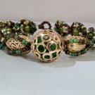Gold Cage Beaded Bracelet - Green Pearl handmade Jewelry