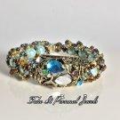 Gold/Blue Tear Drop Rhinestone Bracelet Vintage style Handmade