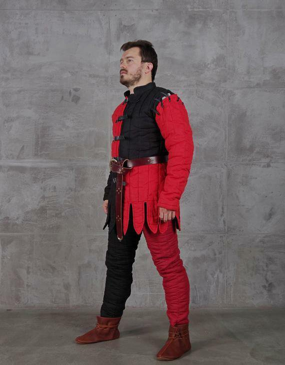 Red and Black Color Medieval Gambeson Reenactment Fancy Design Theater