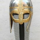 Roman Crusader Viking Medieval Helmet With Chain Mail For Armor Reenactment  nk