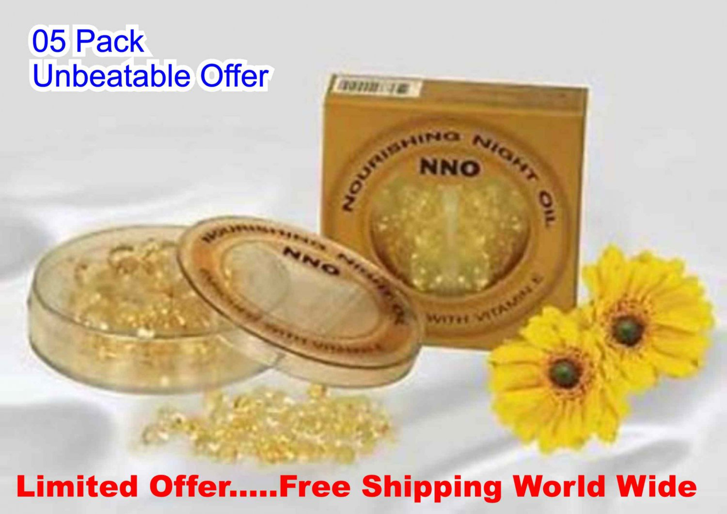 5Box X 30 Capsules,NNO-Nourishing Night Oil Gold Jojoba Skin Balancing,Vitamin E