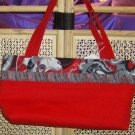 Red Handbag with Black Music Trim