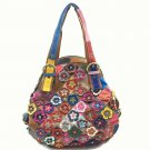 Multi-colored Leather Crossbody/Shoulder Bag Adorned with 3-D Flowers