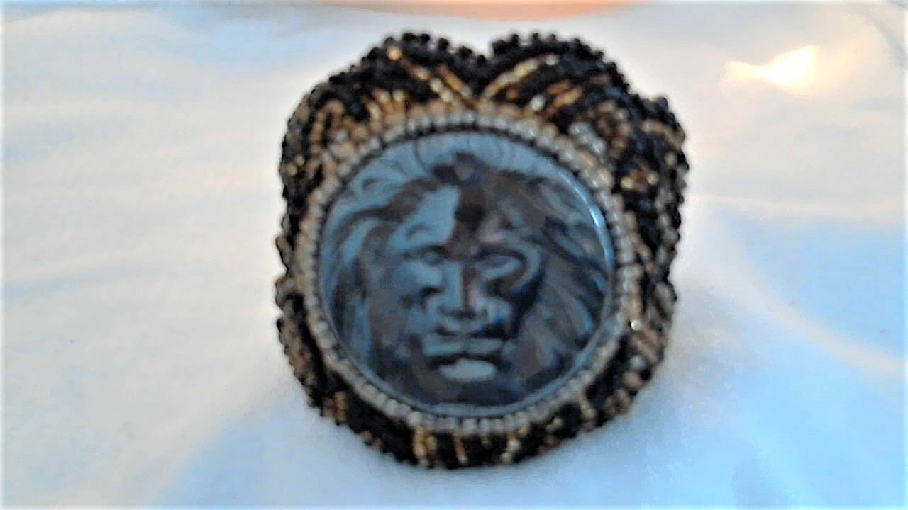 Hematite Black Gold Bronze Carved Bead Embroidery Bracelet