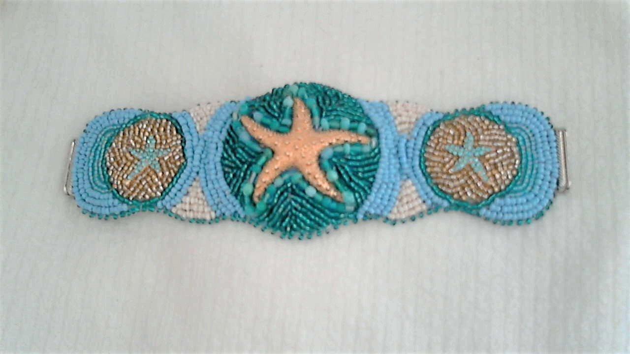 Golden Turquoise Starfish Bead Embroidery Bracelet