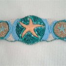 Golden Turquoise Starfish Bead Embroidery Bracelet