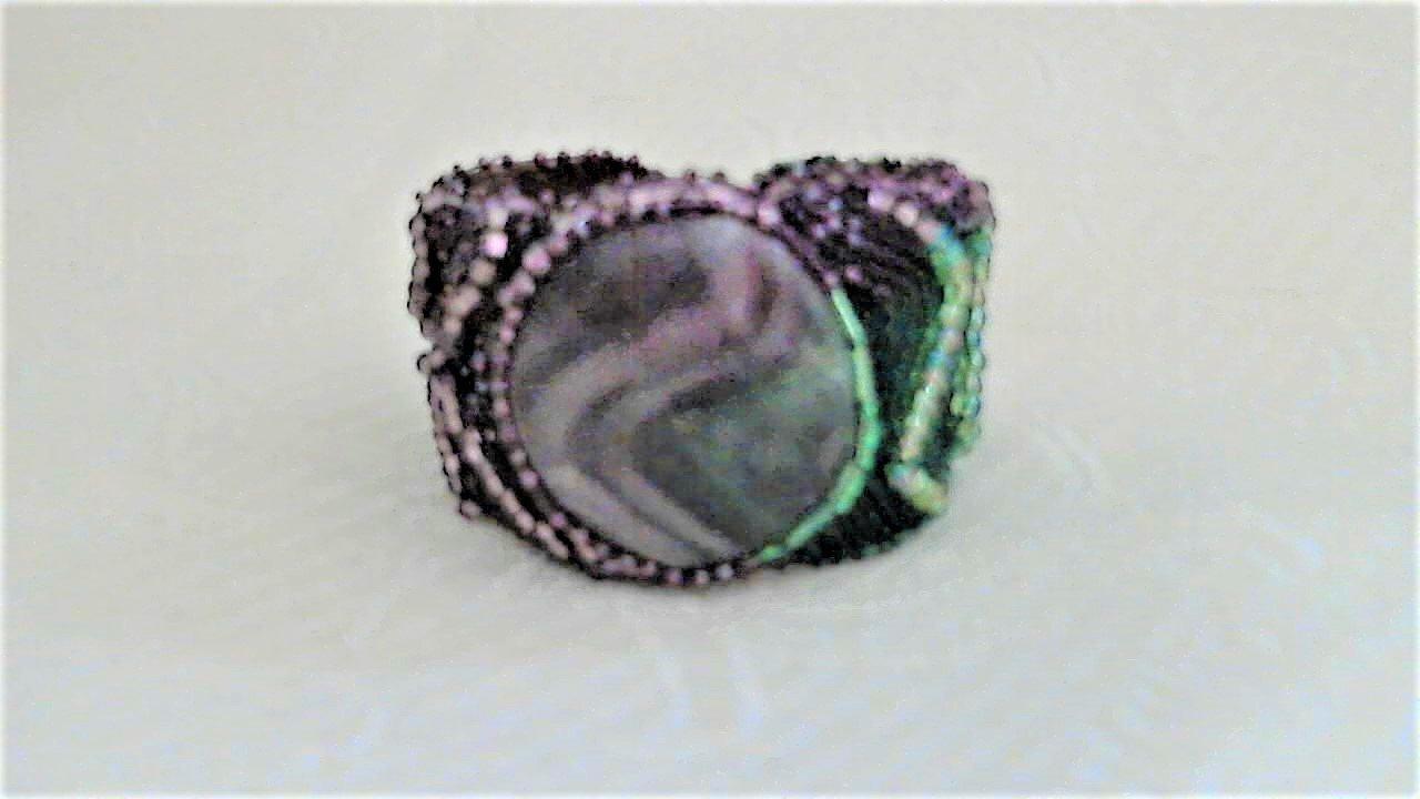 Green Purple Fluorite Design Bead Embroidery Bracelet