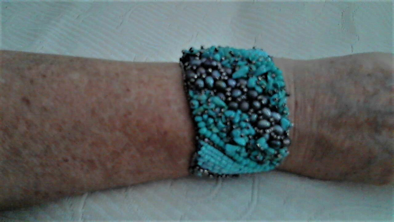 Dark Peacock Pearl Nugget and Turquoise Bracelet