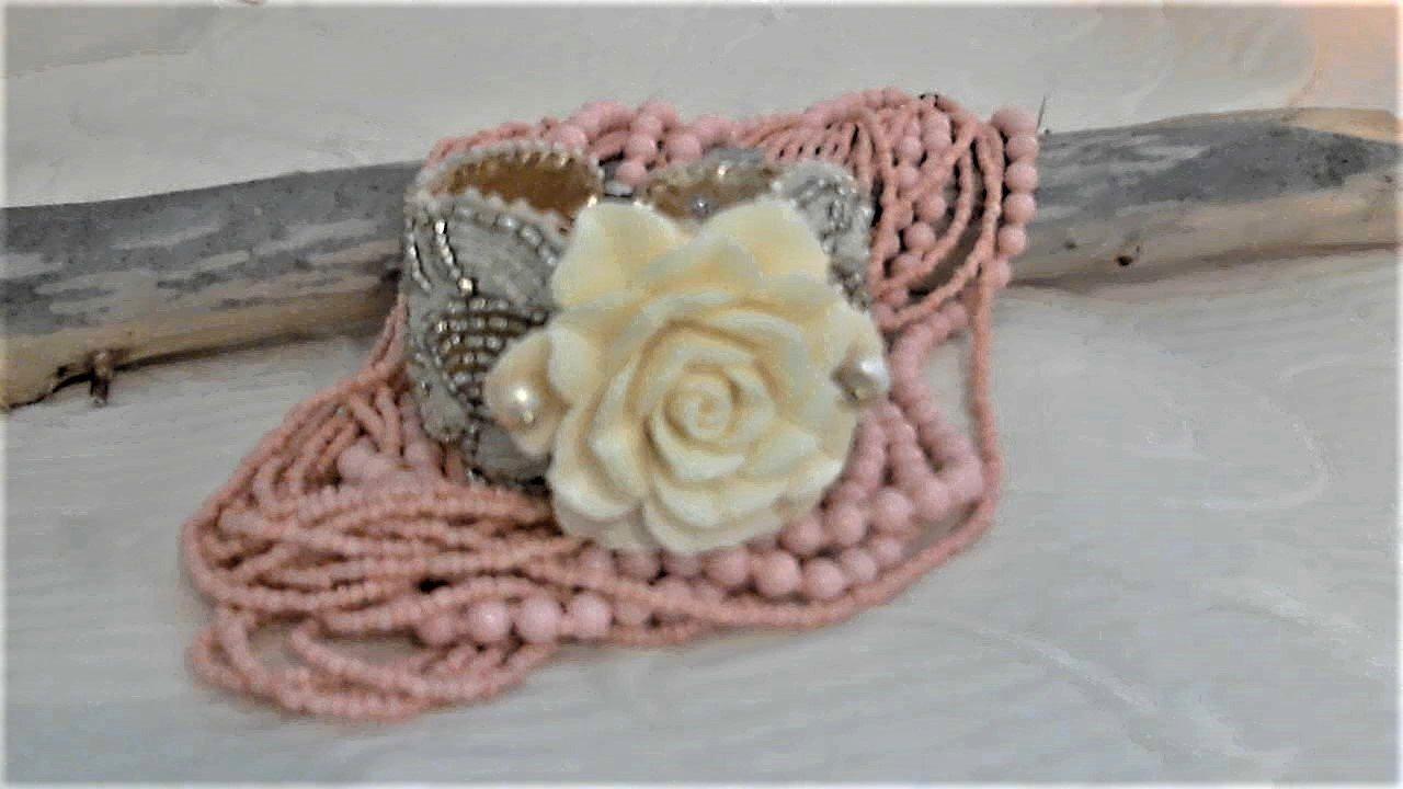 Cream Carved Clam Shell Gold Bead Wedding Bracelet