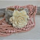 Cream Carved Clam Shell Gold Bead Wedding Bracelet