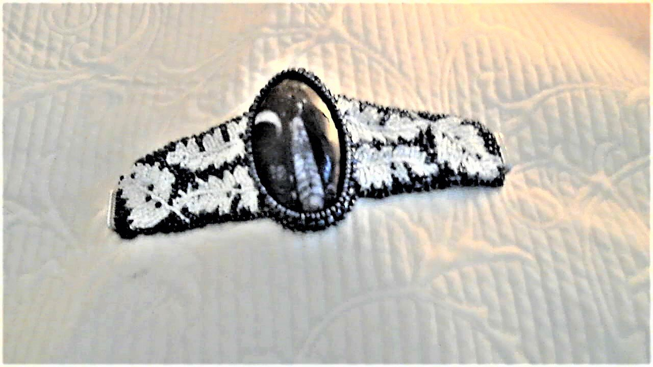 Black White Fossil Fern Bead Embroidery Bracelet