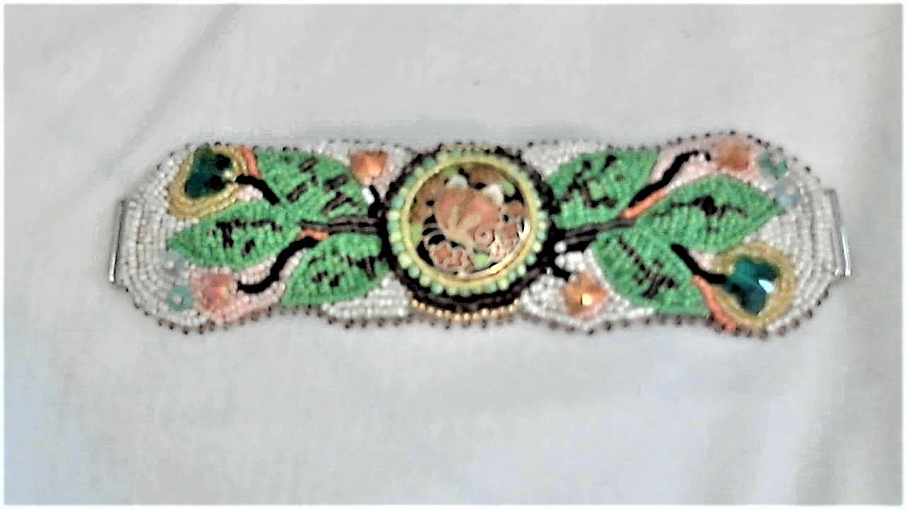 Cloisonne' Butterlies Bead Embroidery Bracelet