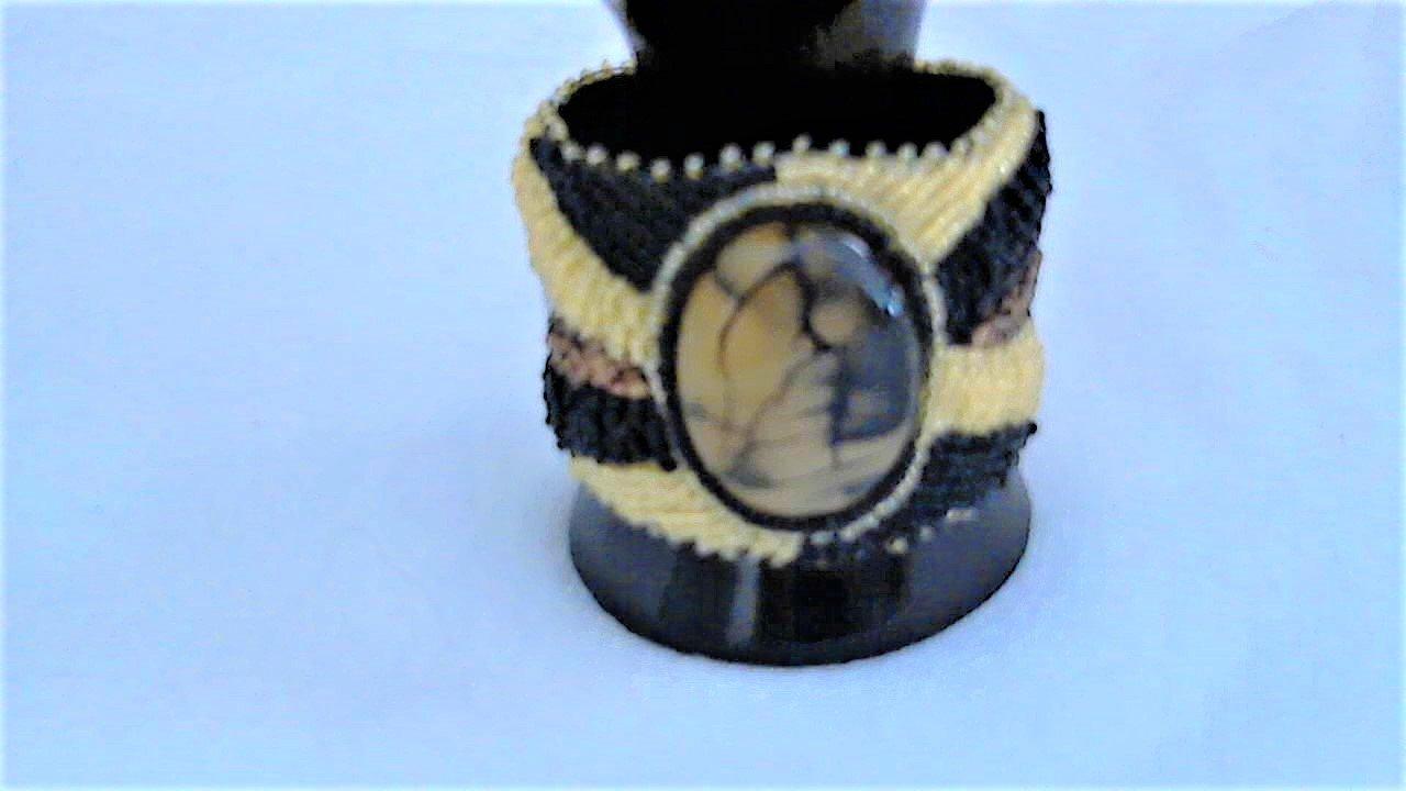 Black Dragon Veins Freeform Design Bead Embroidery Bracelet